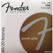 FENDER STRINGS NEW ACOUSTIC 70XL 80/20 BRNZ BALL END 10-48